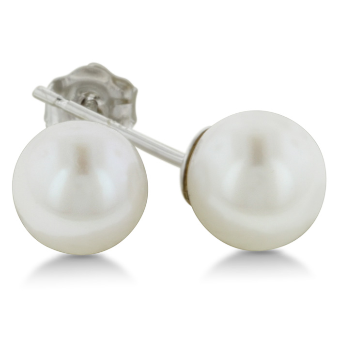 6mm Cultured Pearl Stud Earrings in 14 Karat White Gold ShopFest Money Saver