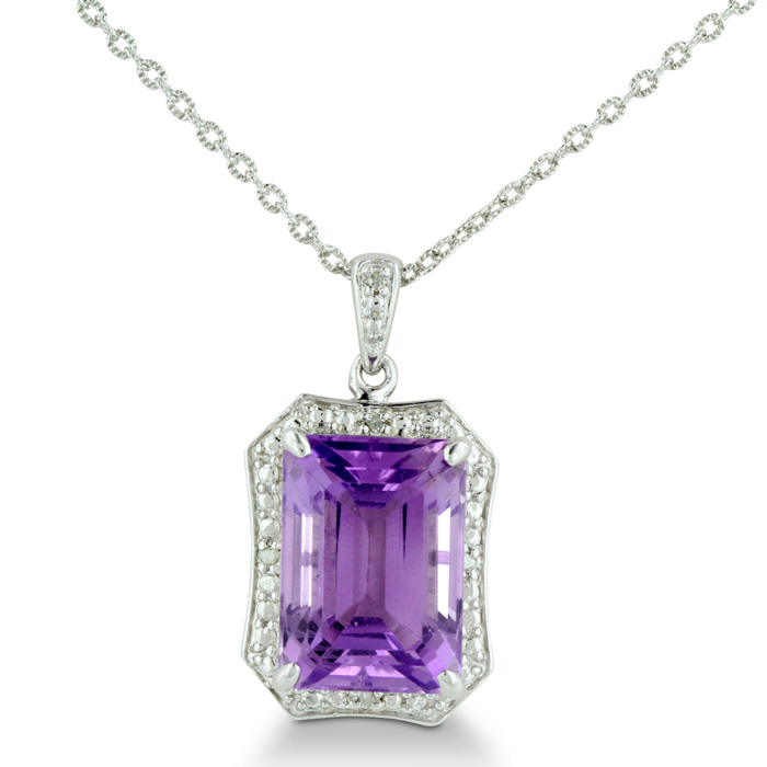Huge 7 Carat Amethyst & Diamond Pendant Necklace in Sterling Silver, , 18 Inch Chain by SuperJeweler