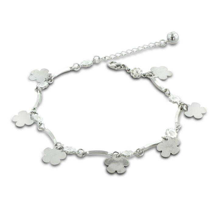 Dangle Flower & Jingle Bell Charm Bracelet Anklet. Crafted in Copper & Zinc by SuperJeweler