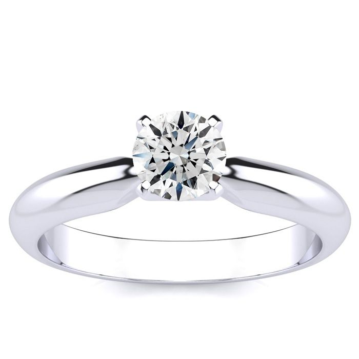 1/2 Carat Round Diamond Engagement Ring in White Gold (2 Grams), F/G Color by SuperJeweler