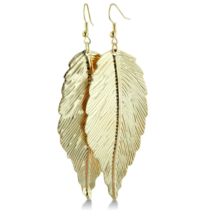 Long Dramatic Gold (2.2 g) Tone Lightweight Dangle Leaf Earrings by SuperJeweler