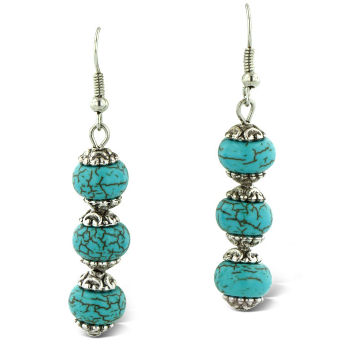 Trendy Three Stone Turquoise Drop Dangle Earrings by SuperJeweler