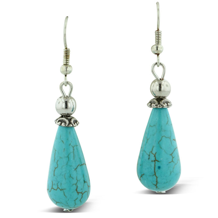 Trendy Turquoise Teardrop Earrings by SuperJeweler
