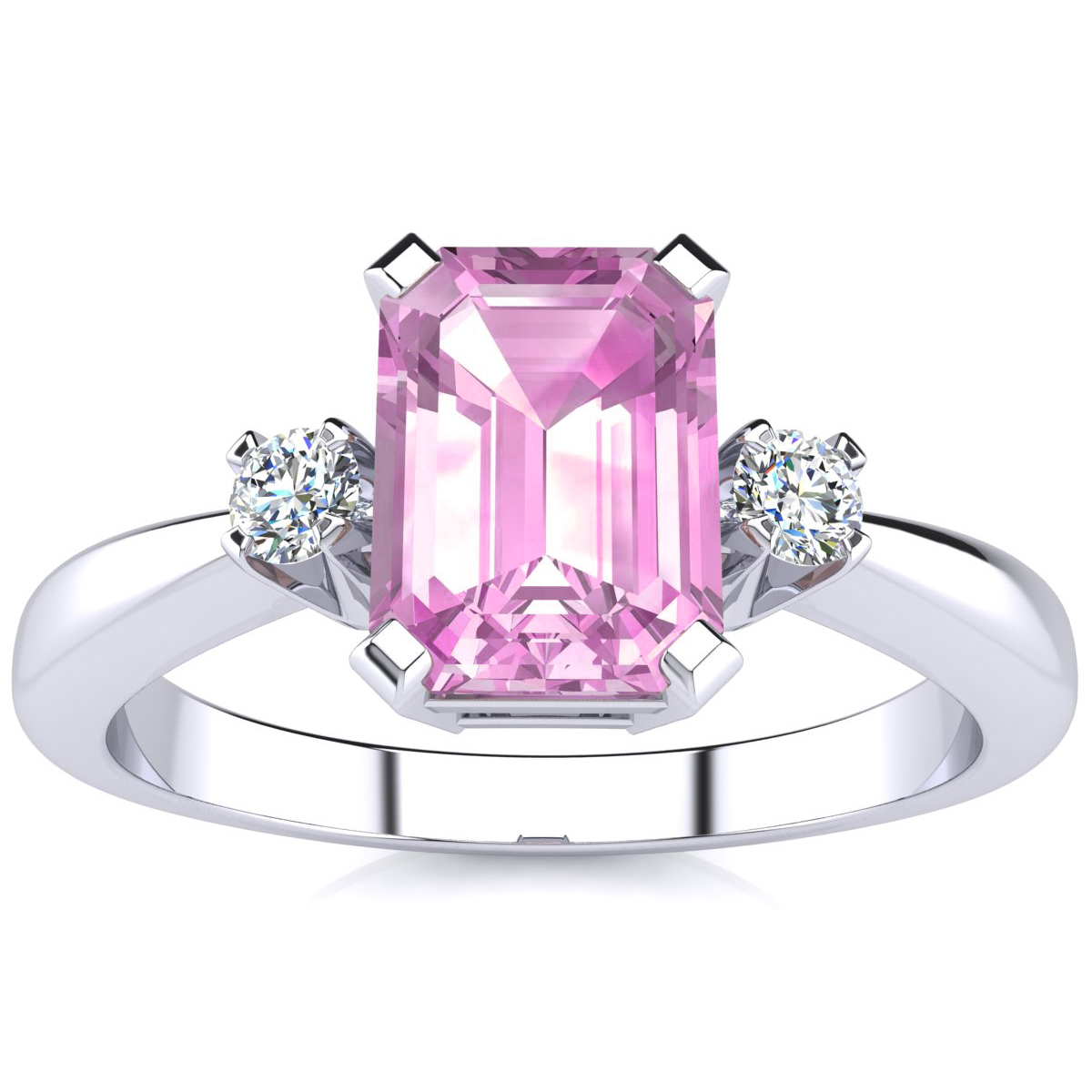 1ct Emerald Cut Pink Topaz and Diamond Ring Crafted In Solid 14K ...