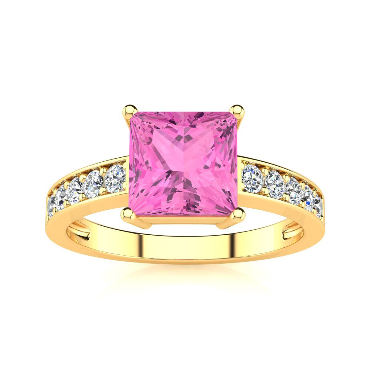 Square Step Cut 1 7/8ct Pink Topaz and Diamond Ring in 14K Yellow ...