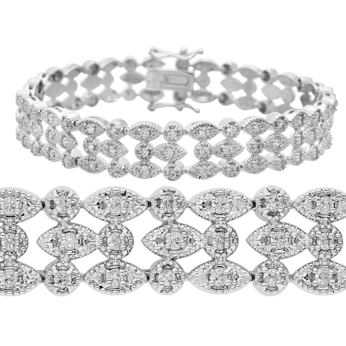 f26be79eb Tennis Bracelet   Diamond Tennis Bracelet   1 Carat Three Row Diamond  Bracelet, Platinum Overlay   Best Jewelry Deals