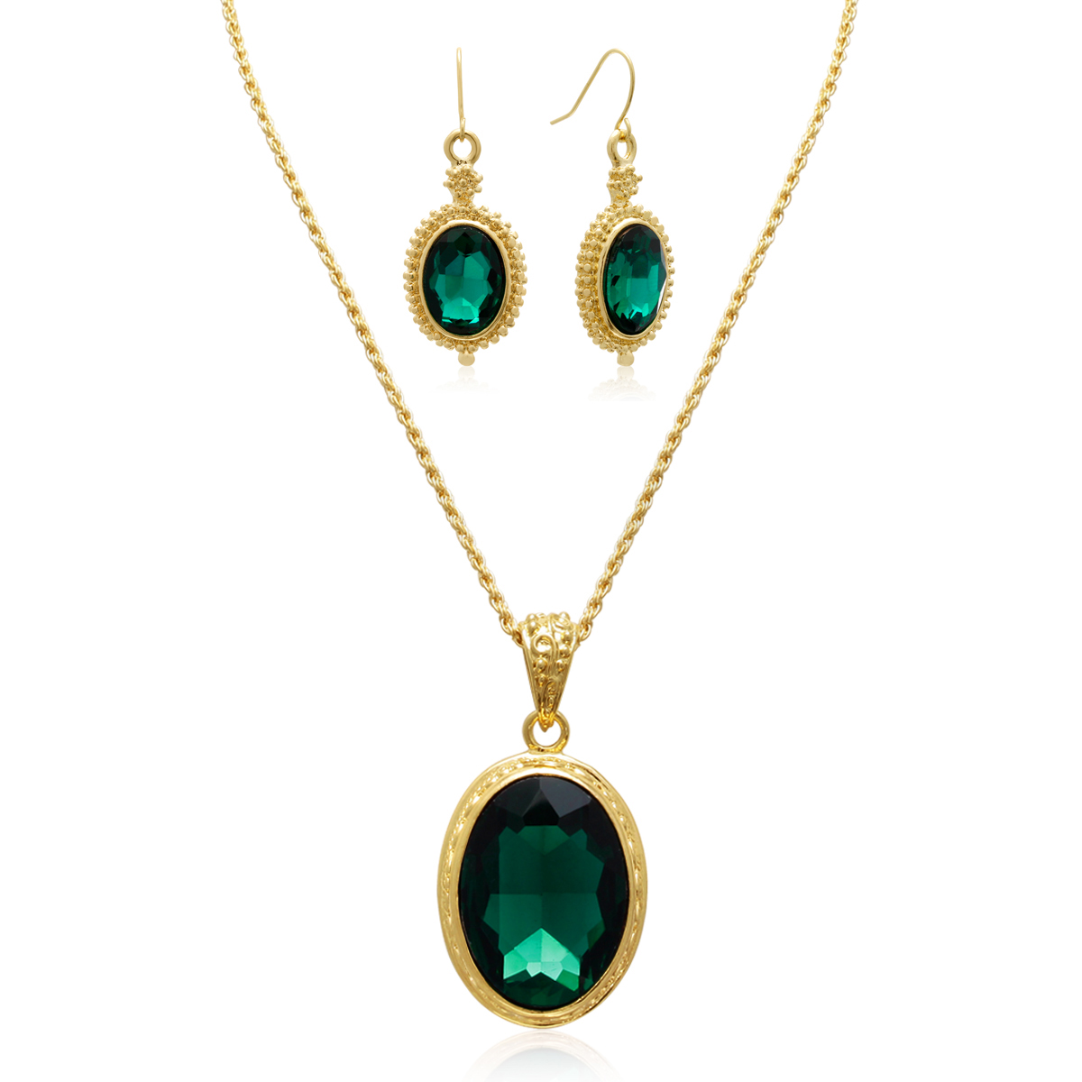 a86ab0b85 Regal 20 Carat Oval Shape Crystal Emerald Necklace With Free Matching  Earrings