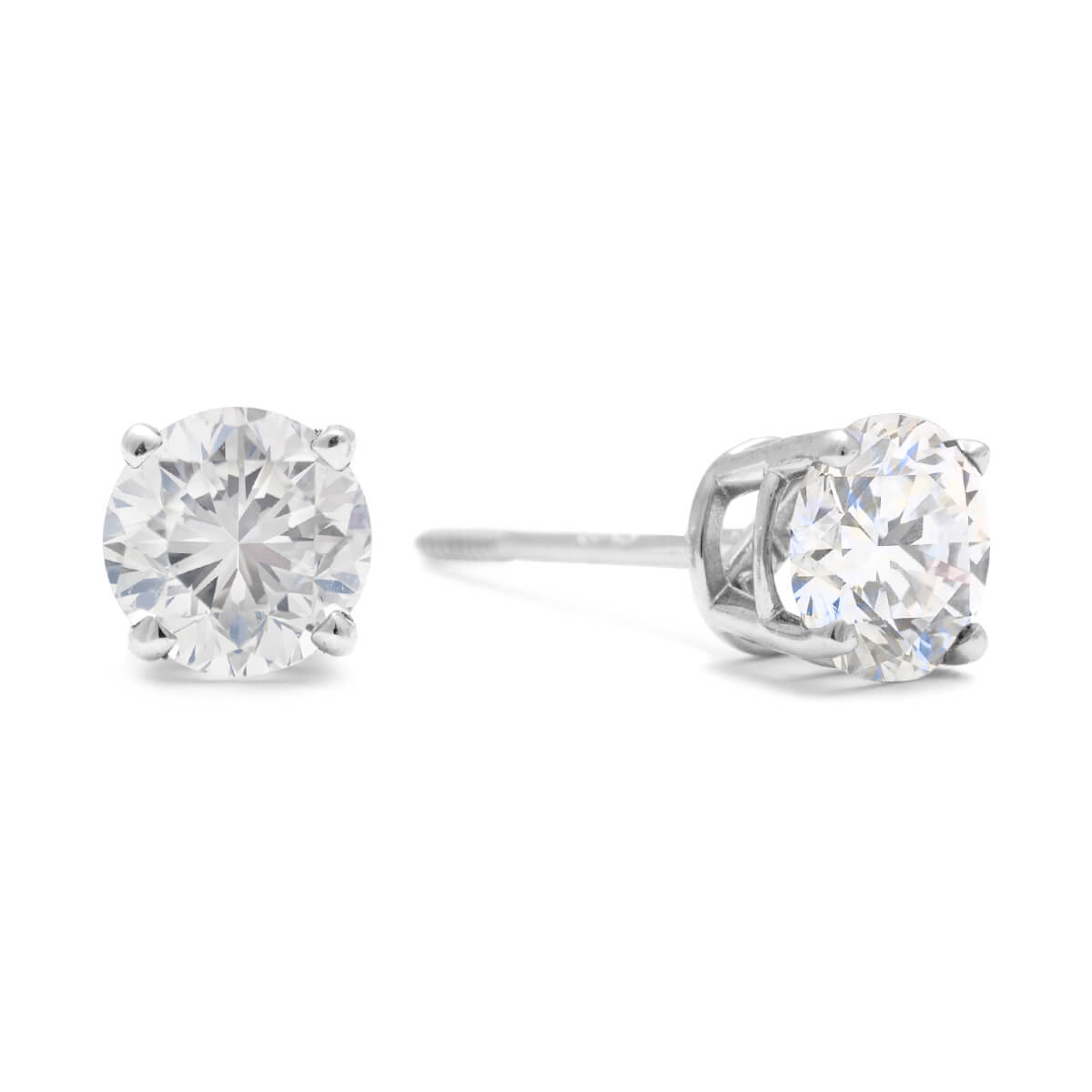 round diamond carat certified stud igi l earrings solitaire white gold