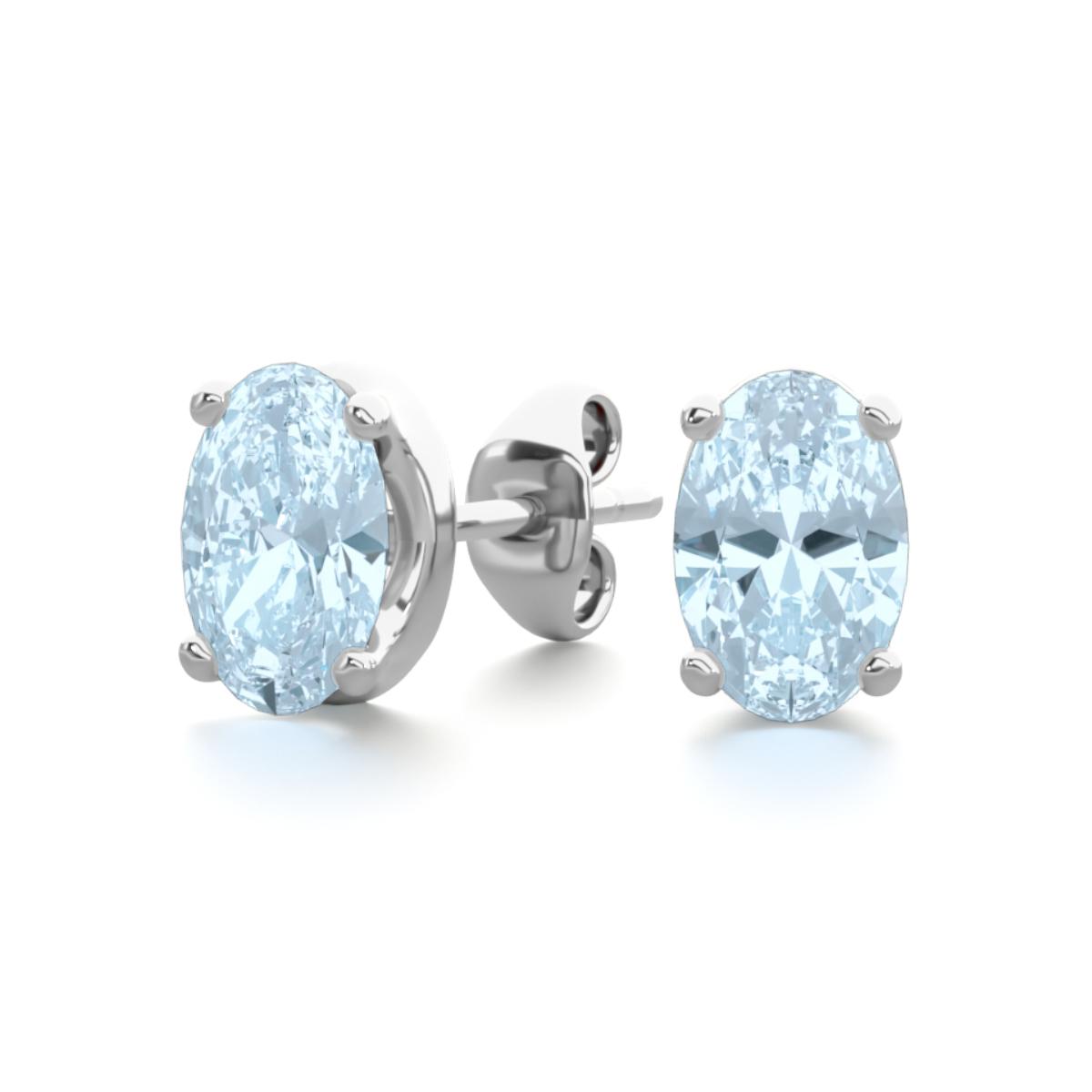 4889c4f66c7 1 Carat Oval Aquamarine Stud Earrings in Sterling Silver | Blue ...