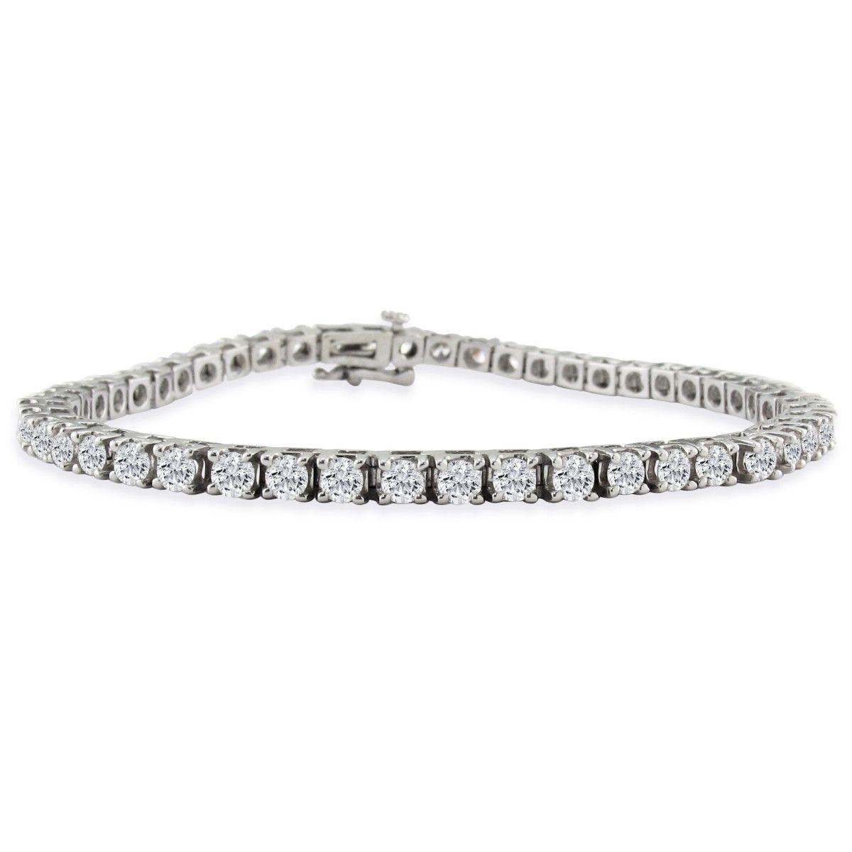 73391b06753 7 Inch 14K White Gold 5 Carat Diamond Tennis Bracelet