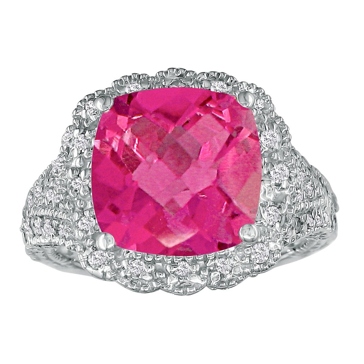 Stylish 4 1/2ct Pink Topaz and Diamond Ring in 14k White Gold ...
