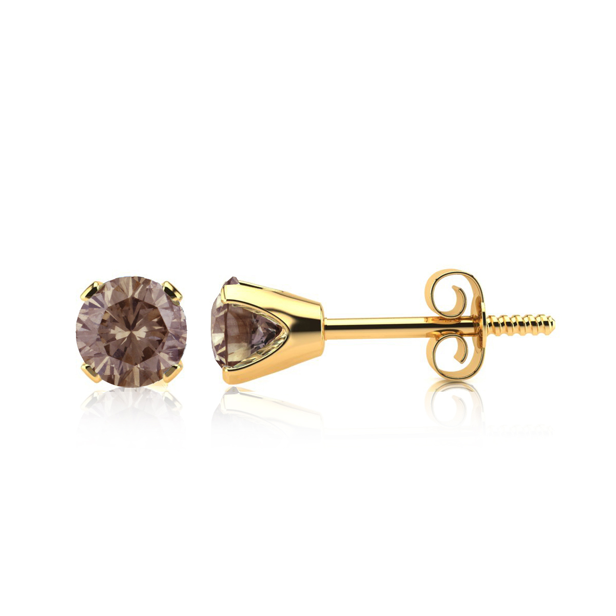 earrings warm gold product rose diamond stud champagne
