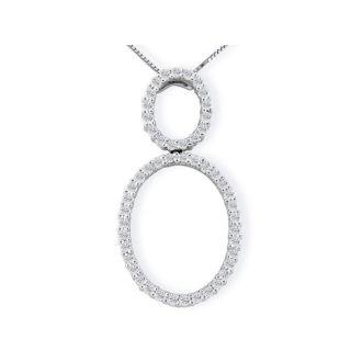 1/2ct Double Oval Diamond Pendant in 14k White Gold