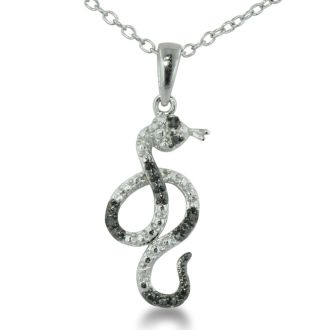 Black Diamond Slithering Snake Necklace in Sterling Silver