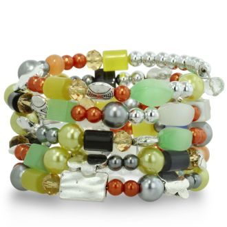 Beachy Multi-Colored Pastel Stone Spiral Wrap Bracelet, Fits All Wrist Sizes