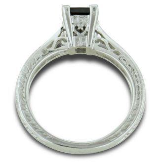 3/4 Carat Princess Cut Black Diamond Solitaire Engagement Ring in Sterling Silver