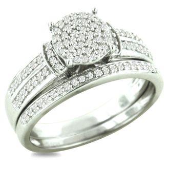 1/3ct Big Looking Round Center Diamond Engagement Ring Bridal Set