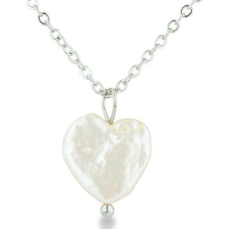 Heart Shaped Natural Freshwater Pearl On 18 Inch Silver Plated Necklace