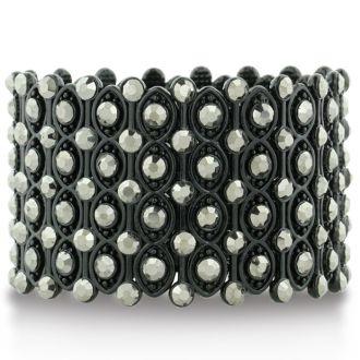 Chunky Super Wide Crystal Studded Mesh Black Cuff Bracelet