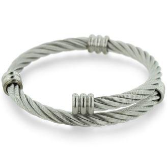 Women's Twisted Wire Stainless Steel Cuff Bracelet