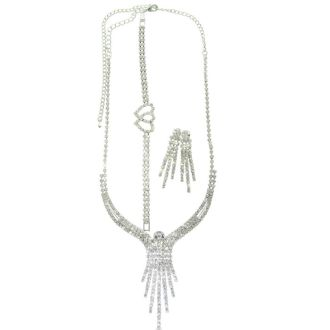 Chandelier Style Necklace and Earring Ensemble With Free Heart Bracelet