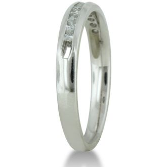 1/4ct Channel Set Diamond Comfort Fit Anniversary Band Ring In 14k White Gold, GH VSI, 4-9.5