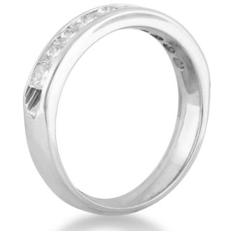 1ct Channel Set Diamond Comfort Fit Anniversary Band Ring In 14k White Gold, GH VSI, 4-9.5