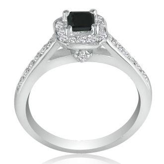 Hansa 1 Carat Black Diamond Princess Engagement Ring in 14k White Gold