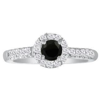 1 1/4 Carat Black Round Diamond Halo Engagement Ring in 14k White Gold