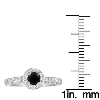 1 3/4 Carat Black Round Diamond Halo Engagement Ring in 14k White Gold