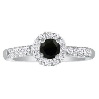 2 1/4 Carat Black Round Diamond Halo Engagement Ring in 14k White Gold