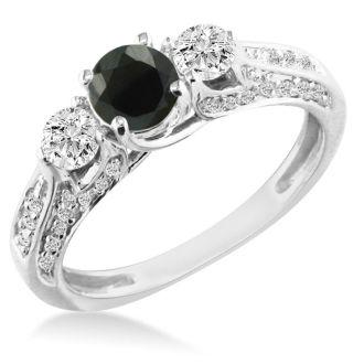 Hansa 1 Carat Black Diamond Round Engagement Ring in 14k White Gold