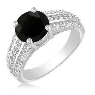 Hansa 2ct Black Diamond Round Engagement Ring in 14k White Gold, I-J, I2-I3, Available Ring Sizes 4-9.5