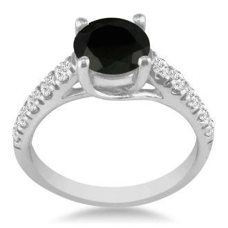 Hansa 3/4ct Black Diamond Round Engagement Ring in 14k White Gold, I-J, I2-I3 , Available Ring Sizes 4-9.5