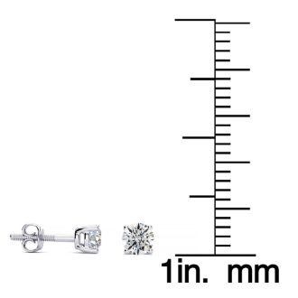 1/4 Carat Round Diamond Stud Earrings In Platinum