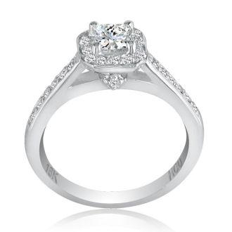 2/3 Carat Princess Cut Halo Diamond Engagement Ring in 18k White Gold