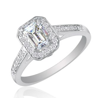 2 Carat Emerald Diamond Halo Engagement Ring in 14k White Gold