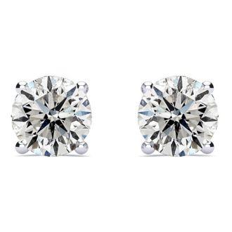 2 Carat Diamond Stud Earrings In Platinum