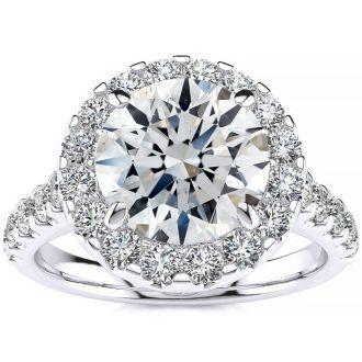 2 1/4 Carat Round Halo Diamond Engagement Ring in 14k White Gold