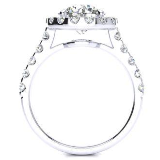 2 3/4 Carat Round Diamond Halo Engagement Ring in 14k White Gold
