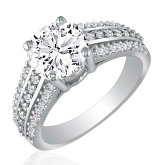 Hansa 1ct Diamond Round Engagement Ring in 14k White Gold, H-I, SI2-I1, Available Ring Sizes 4-9.5