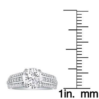 1 1/3 Carat Round Diamond Engagement Ring in 14k White Gold