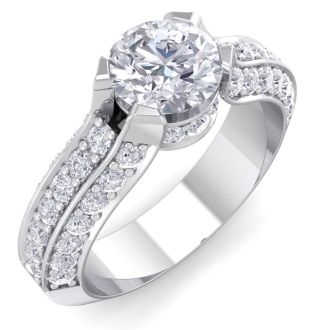 1 3/4 Carat Round Shape Diamond Engagement Ring In 14 Karat White Gold