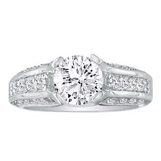 Hansa 2 3/4ct Diamond Round Engagement Ring in 14k White Gold, H-I, SI2-I1, Available Ring Sizes 4-9.5