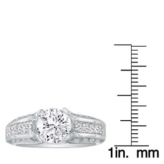 3.66 Carat Round Diamond Engagement Ring in 14k White Gold