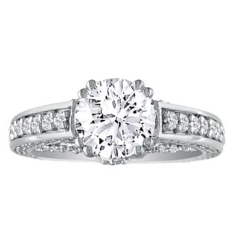 Hansa 2ct Diamond Round Engagement Ring in 14k White Gold, H-I, SI2-I1, Available Ring Sizes 4-9.5