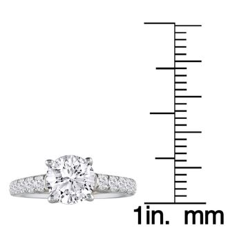 1 1/2 Carat Round Diamond Engagement Ring in 18k White Gold