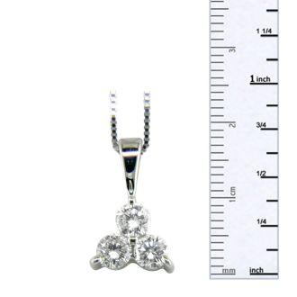 1ct Three Diamond Triangle Style Diamond Pendant In 14k White Gold