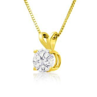 Pretty 2/3ct 14k Yellow Gold Diamond Pendant
