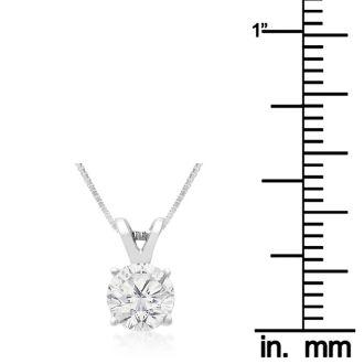 3/4ct 14k White Gold Diamond Pendant On Gold Box Chain